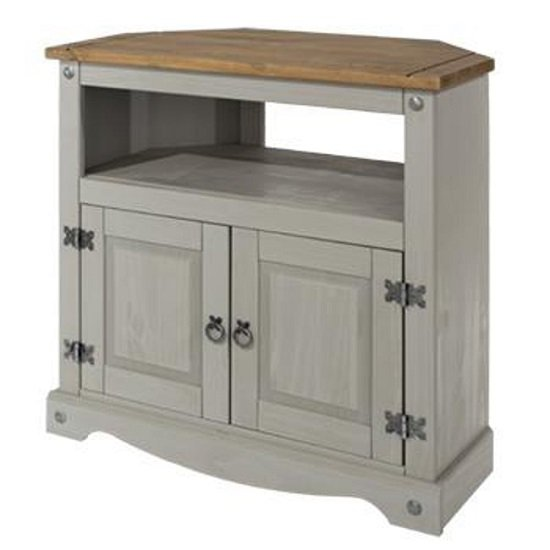 Corina Wooden Corner TV Stand In Grey Washed Wax Finish