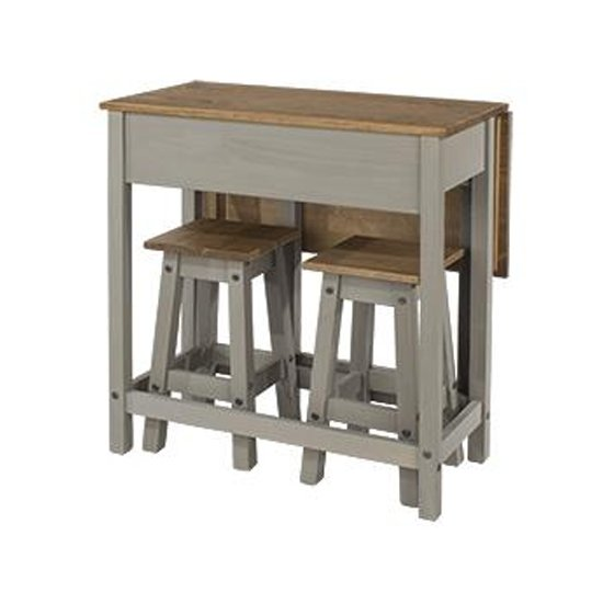 Corina Drop Leaf Dining Set In Grey With 2 Stools_1