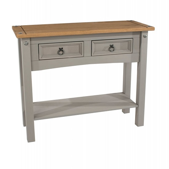 Corina End Table In Grey Washed Wax Finish With Two Drawers