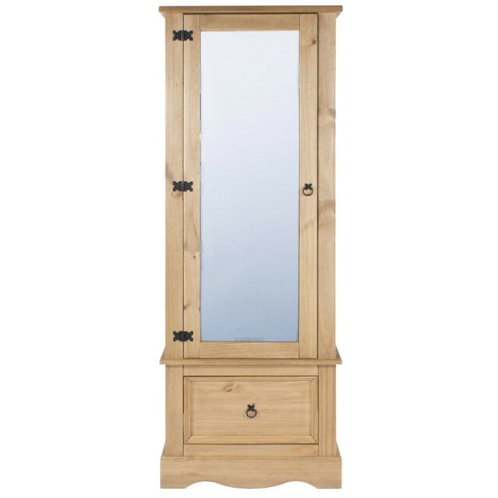 Corina Mirrored Door Wardrobe In Antique Wax Finish