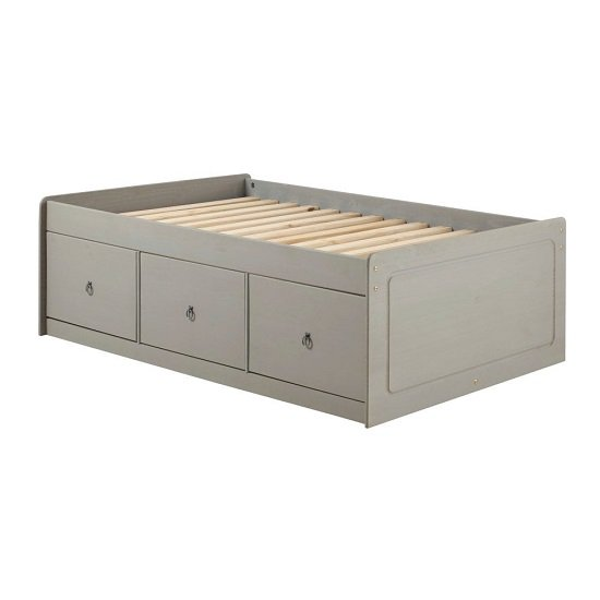 Corina Single Cabin Bed With Grey Washed Wax Finish