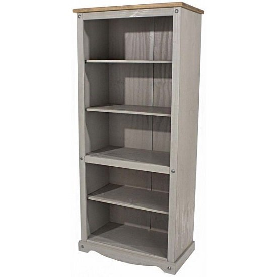 Corina Tall Bookcase In Grey Washed Wax Finish
