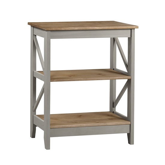 Corina Three Tier Shelving Unit In Grey Washed Wax Finish
