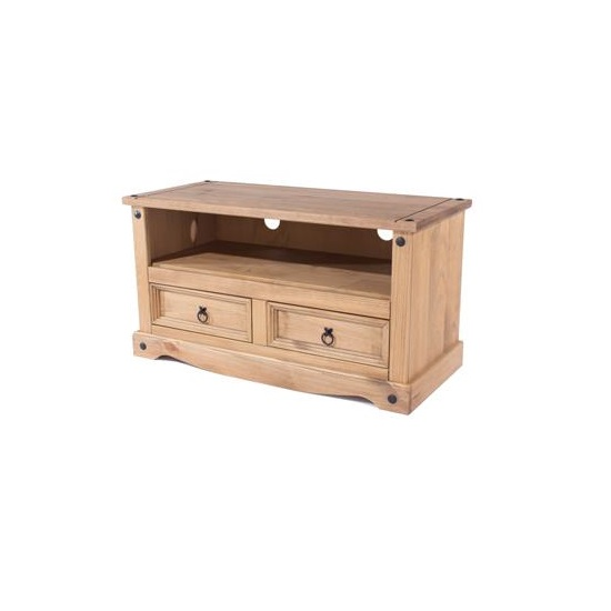 Corina TV Stand In Antique Wax Finish With Two Drawers