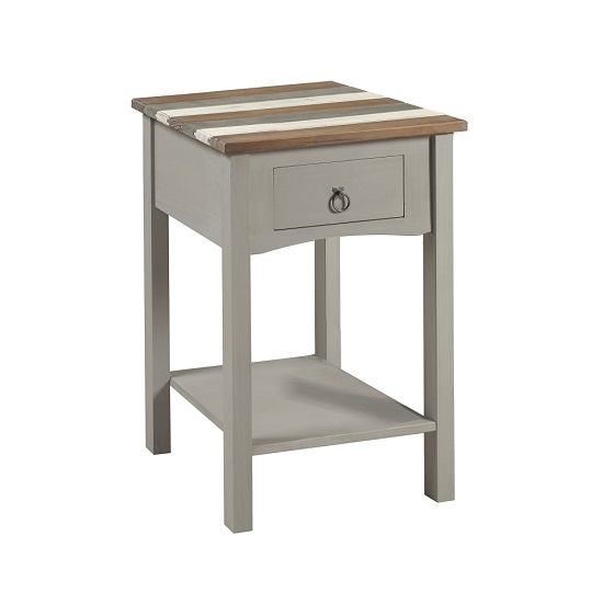 Corina Vintage End Table In Grey Wax Finish With One Drawer