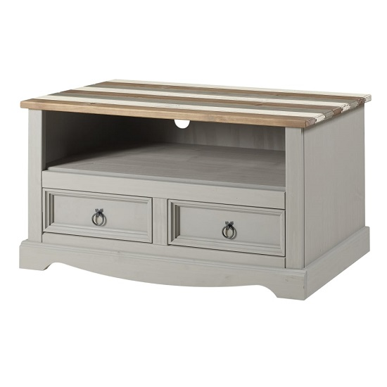 Corina Vintage TV Stand In Grey Wax Finish With Two Drawers