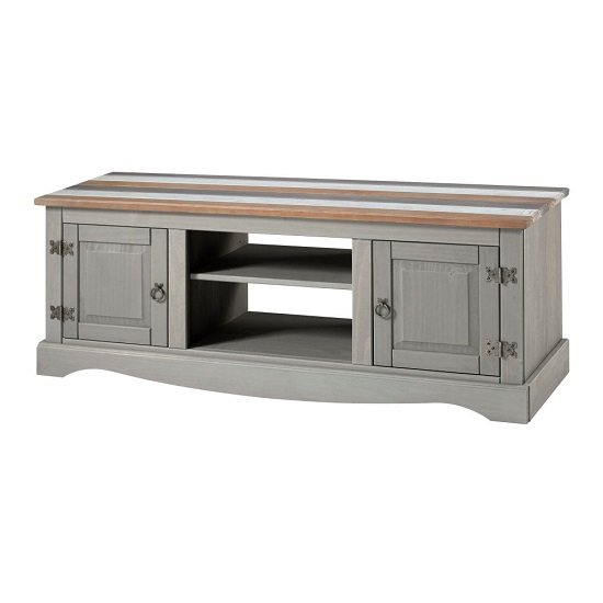 Corina Vintage Wide TV Stand In Grey Wax Finish With Two Doors
