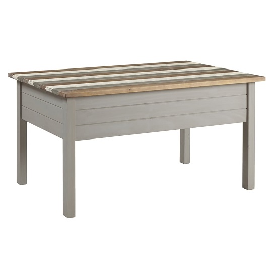 Corina Vintage Wooden Coffee Table In Grey Wax Finish