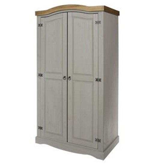 Corina Wardrobe In Grey Washed Wax Finish With Two Doors
