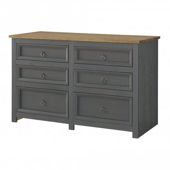 Corina Wide Chest Of Drawers In Carbon Grey Finish