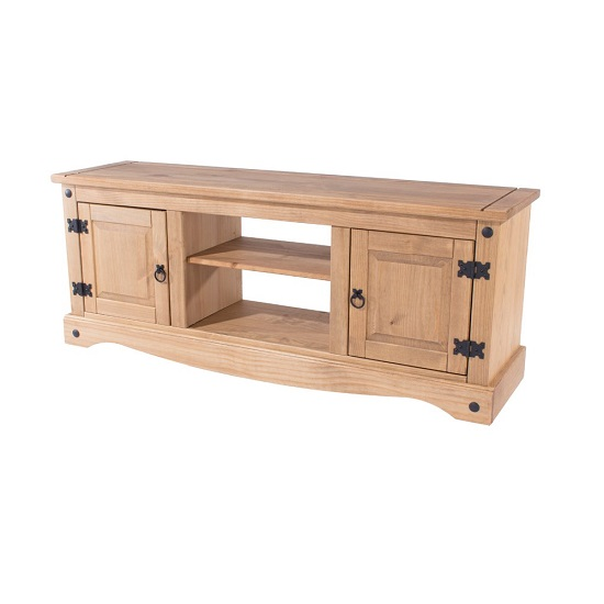 Corina Wide TV Stand In Antique Wax Finish With Two Doors