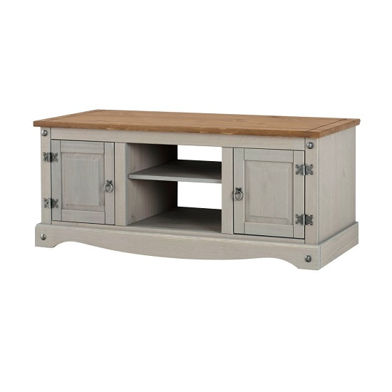 Corina Wide TV Stand In Grey Washed Wax With Two Doors