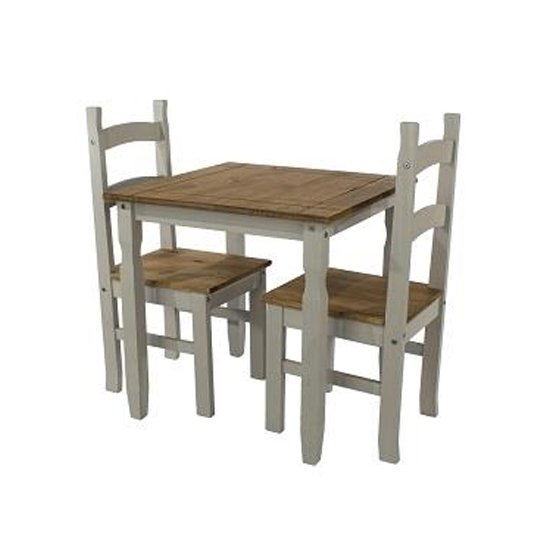 Corina Wooden Dining Set In Grey With 2 Chairs