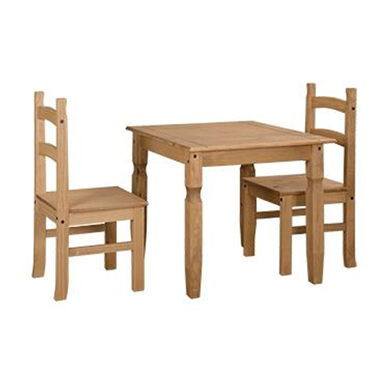 View Corina wooden dining set in oak with 2 chairs