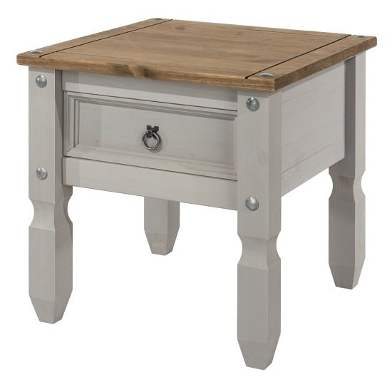 Corina Wooden Lamp Table In Grey Washed Wax Finish