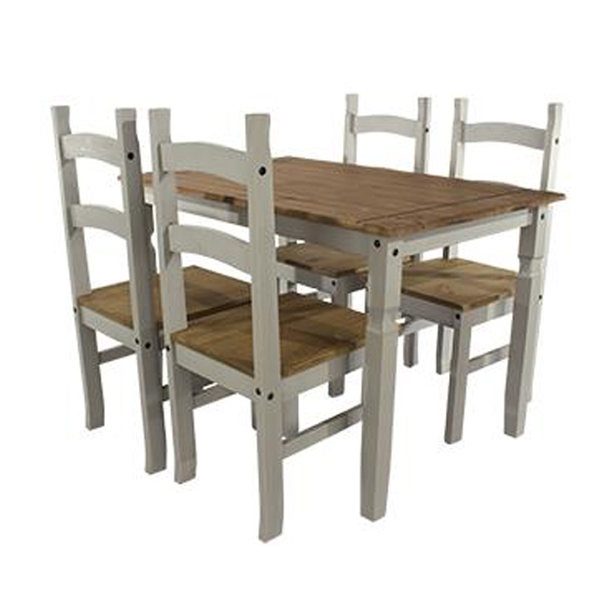 Corina Wooden Large Dining Set In Grey With 4 Chairs