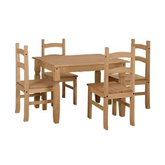 Corina Wooden Large Dining Set In Oak With 4 Chairs