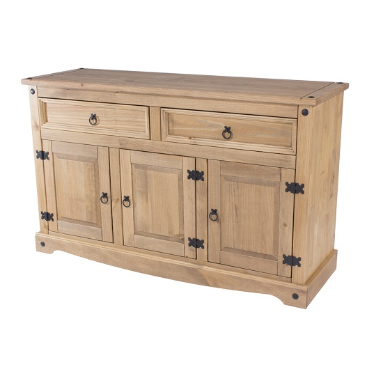 Corina Wooden Medium Sideboard In Antique Wax Finish