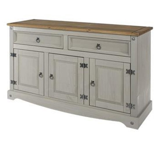 Corina Wooden Large Sideboard In Grey Washed Wax Finish