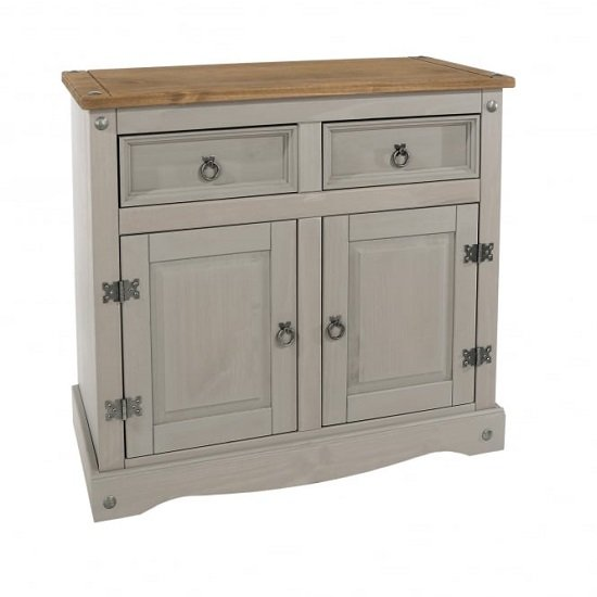 Corina Wooden Small Sideboard In Grey Washed Wax Finish