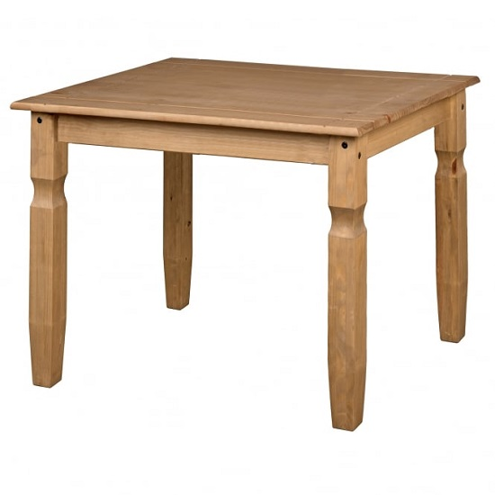 Corina Wooden Square Dining Table In Antique Wax Finish