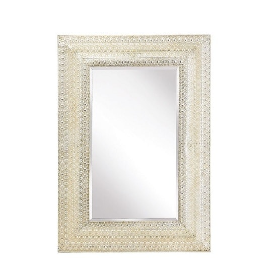 Corndell Wall Mirror Rectangular In Silver Metal Lattice Finish