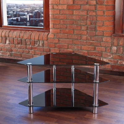 Corner Black Glass 3 Tiered TV Stand