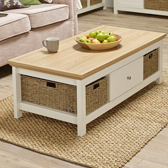 Cornet Wooden Coffee Table In Cream And Oak Finish