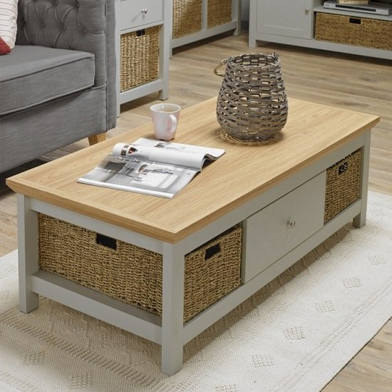 Cornet Wooden Coffee Table In Grey And Oak Finish