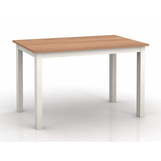 Cornet Wooden Dining Table In Cream And Oak Finish