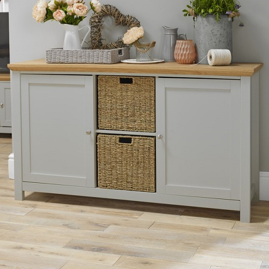 View Cornet wooden sideboard in grey and oak finish