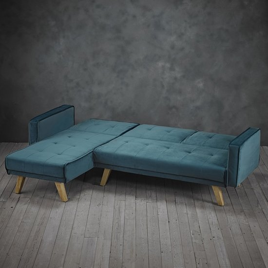 Cornis Corner Sofa Bed In Teal Fabric With Wooden Legs_2