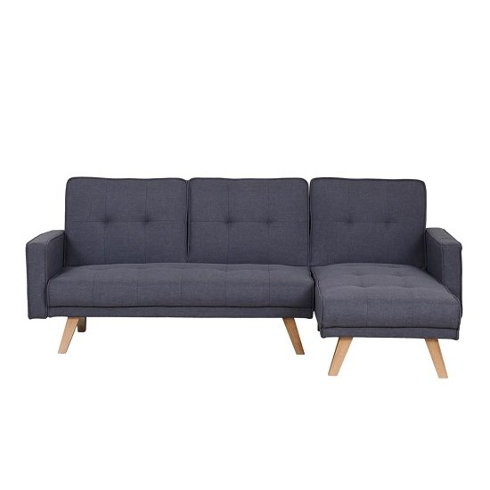 Cornis Corner Sofa Bed In Grey Fabric With Wooden Legs