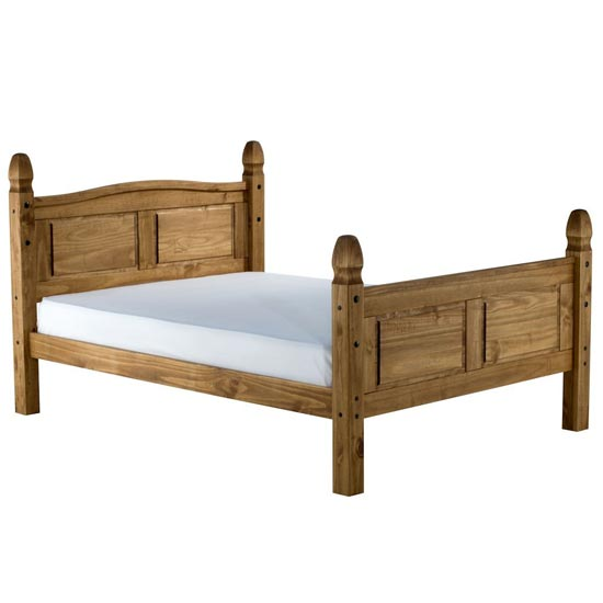 Corona Wooden High End Small Double Bed In Waxed Pine_2