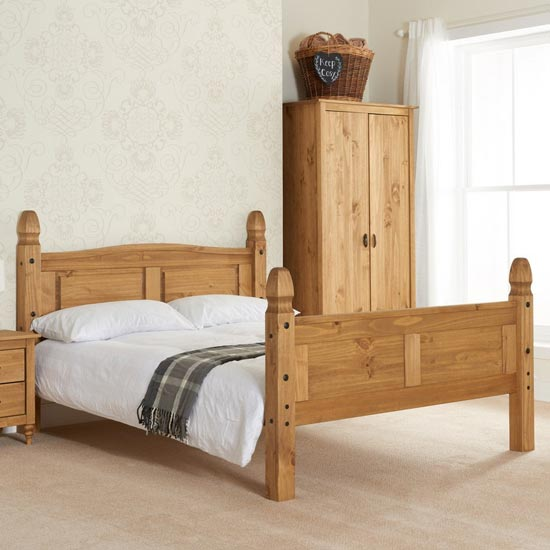 Corona Wooden High End Small Double Bed In Waxed Pine