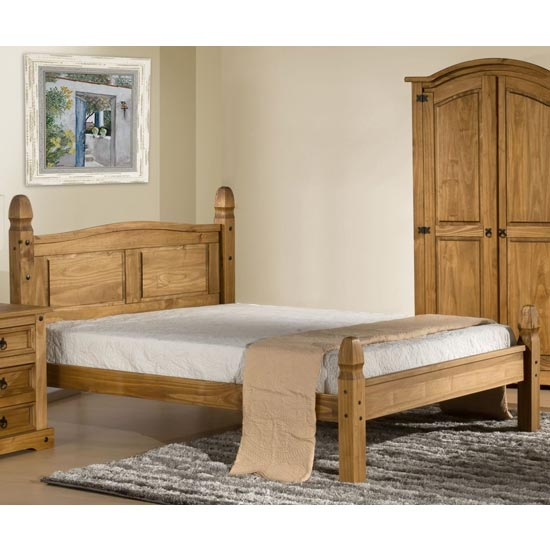 Corona Wooden Low End King Size Bed In Waxed Pine