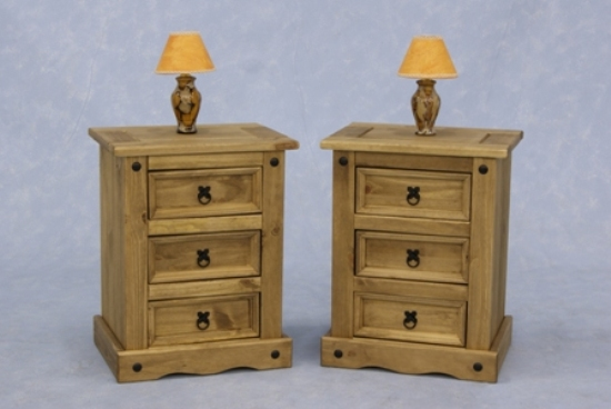 Read more about Corona wooden bedside cabinet in waxed pine with 3 drawers