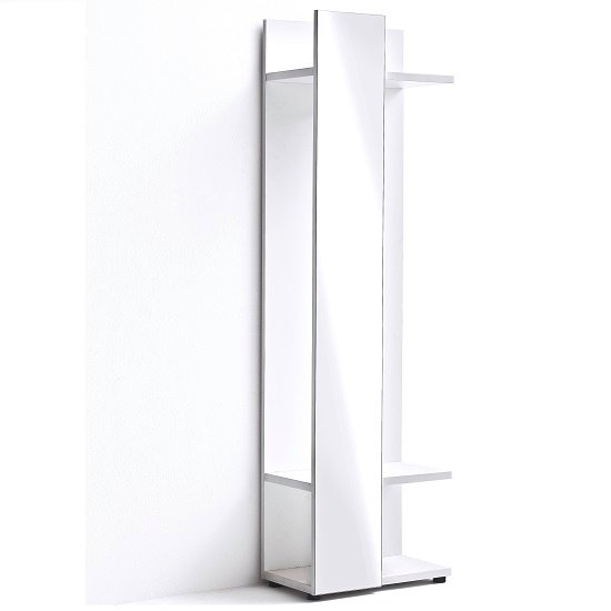 Corona Coat Stand In White Gloss With Mirror