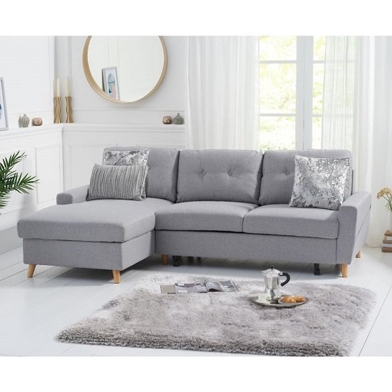 Coreen Linen Left Hand Facing Chaise Sofa Bed In Grey