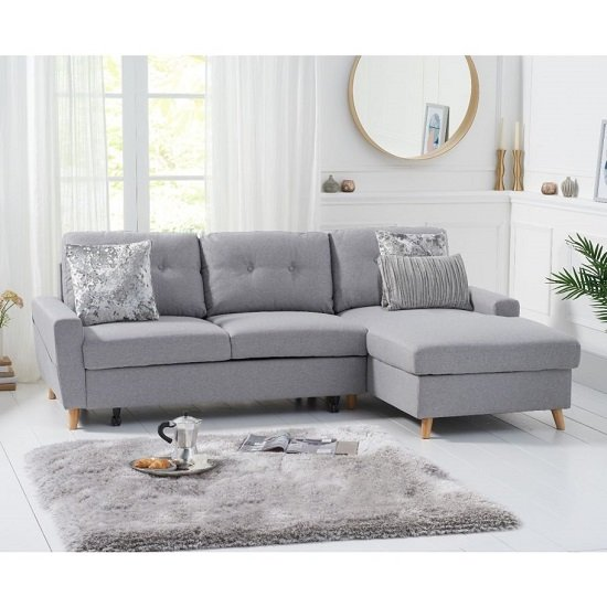 Correen Linen Right Hand Facing Chaise Sofa Bed In Grey