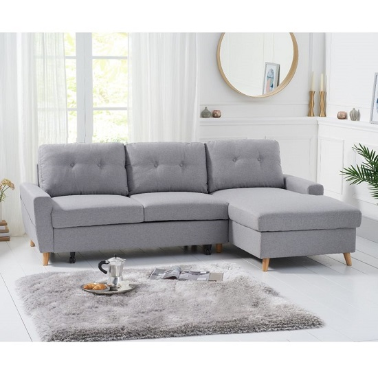Correen Linen Right Hand Facing Chaise Sofa Bed In Grey_2