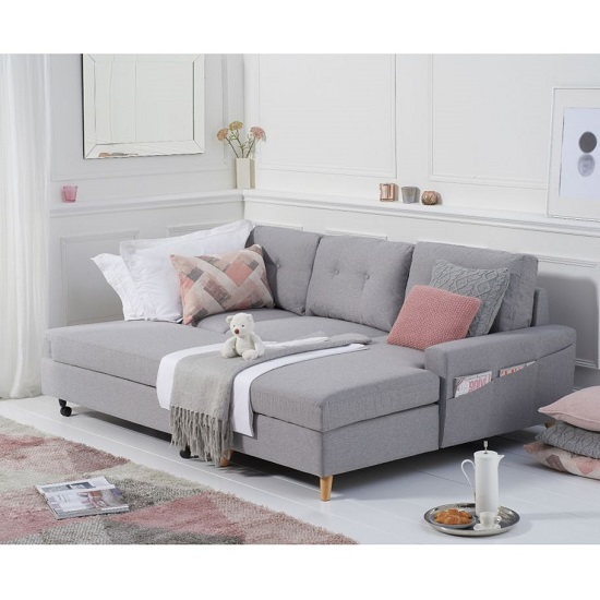 Correen Linen Right Hand Facing Chaise Sofa Bed In Grey_3