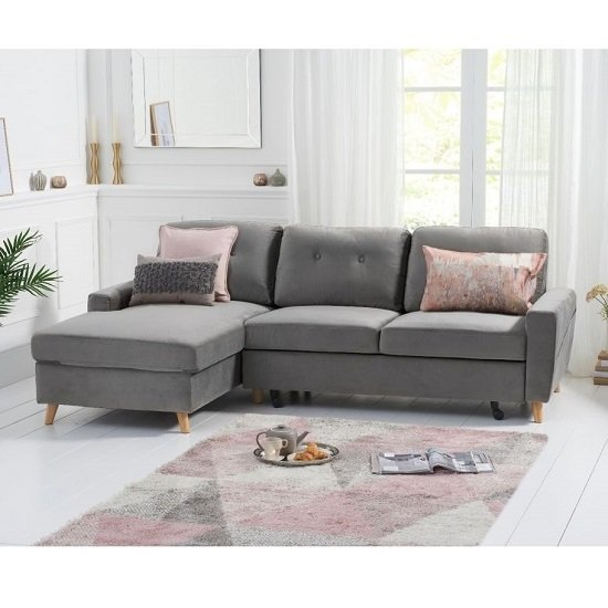 Correen Velvet Left Hand Facing Chaise Sofa Bed In Grey