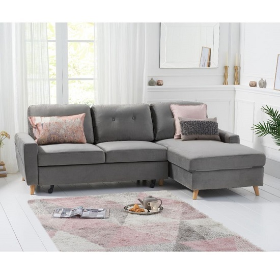 Correen Velvet Right Hand Facing Chaise Sofa Bed In Grey