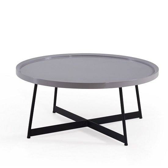 Corrick Circular Coffee Table In Grey High Glosetal Legs