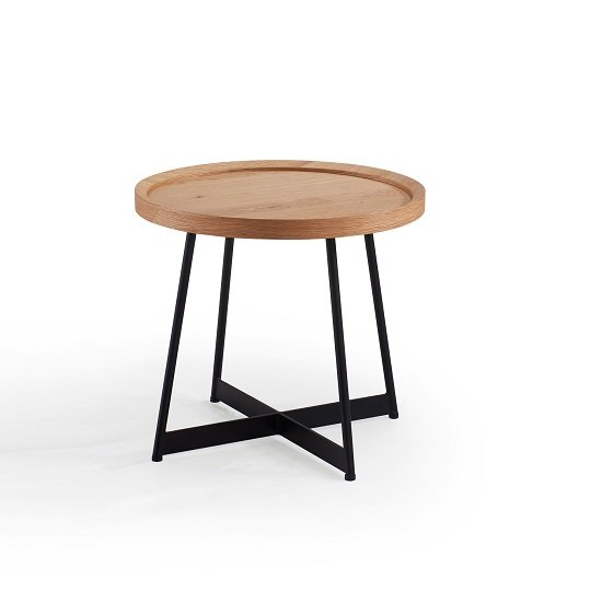 Corrick Circular End Table In White Oak And Metal Legs