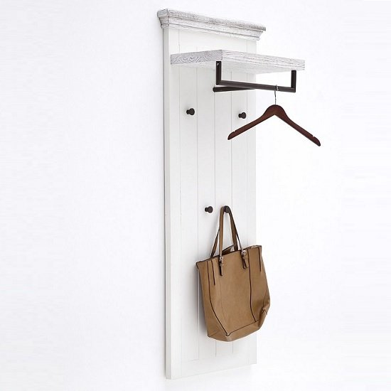 Corrin Wooden Wall Mounted Coat Rack Panel In White With 4 Hooks_3