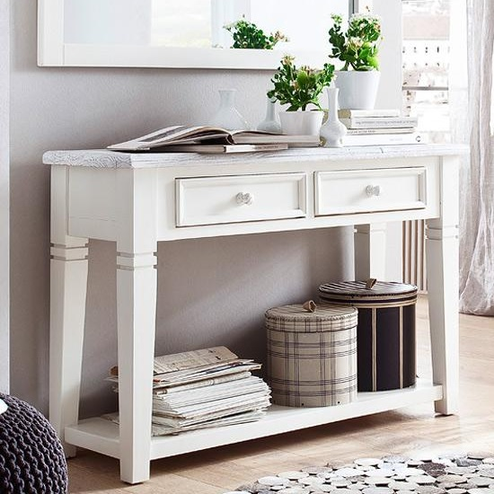 Corrin Wooden Console Table In White With 2 Drawers