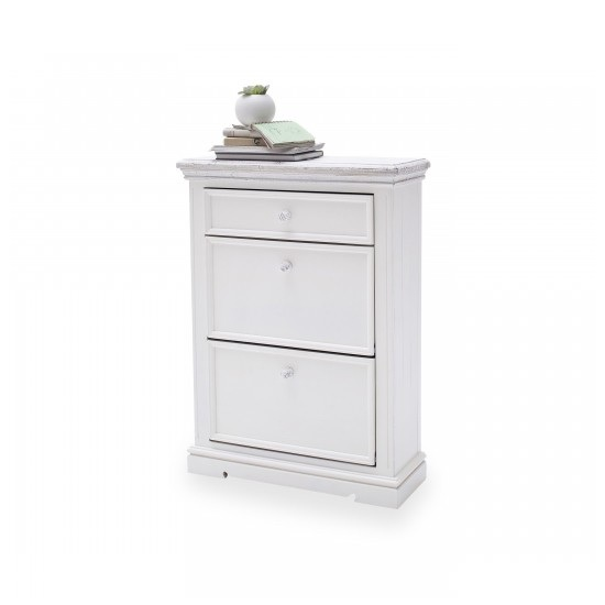 Corrin Wooden Shoe Cupboard In White With 2 Flaps And 1 Drawer