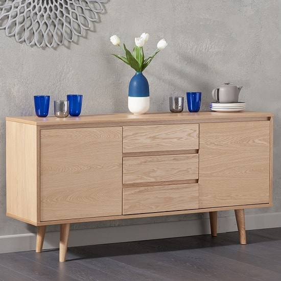 Corrin Wooden Sideboard In Oak With 2 Doors And 3 Drawers
